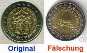 Fälschungen Vom 2 Stück Sedisvakanz Vatikan 2005 2 Euro Münzen